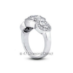 1.89ct Tw D-vs2 Round Natural Certified Diamonds 18k Gold Halo Engagement Ring