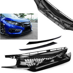 Gloss Black Front Mesh Hood Grille For 2016-2019 Honda Civic 10th Gen Fk8 Type-r
