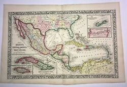 Central America Mexico West Indies 1860 Augustus Mitchell Large Antique Map