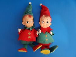 Htf Pair Of Vintage Red And Green Elves With Freckles 11 Japan
