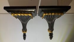 Vintage Corbels Brackets Pair Large Lacquer With Gold Accents