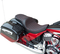 Low-profile Touring Seat Red Double Diamond - Solar Reflective Leather