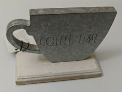 """Rae Dunn ☕️ """"coffee Time"""" Cottage Farmhouse ☕️ Silver Metal Wood Sign New Htf"""