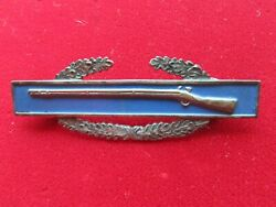 Rare Us Ww2 Army Combat Infantry Badgecib Sterling With Flat Sterling Clutches