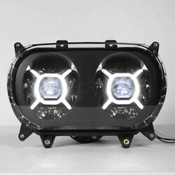 Front Led Dual Headlight With Drl Lamp Black Set For Harley Road Glide 2015-2020