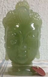 Buddha Head Carving From Apple Green Serpentine Often Refered As Peking Jade