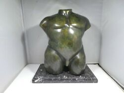 Neoclassical Chubby Male Nude Bronze Torso On Marble Base