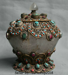 7.2 Antique Tibet Buddhism Copper Crystal Inlay Turquoise Jewelry Pot Jar Crock