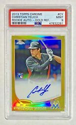 2013 Topps Chrome Christian Yelich Rookie Rc Gold Refractor Auto /50 Psa 9 Mint