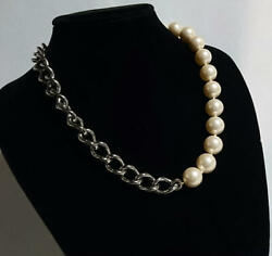 Dolce And Gabbana Rare Pearl Chain Combination Necklace D And G Pearl White