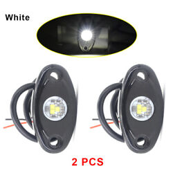 2x White Cree Led Rock Light For Jeep Off-road Truck Under Body Trail Rig Light