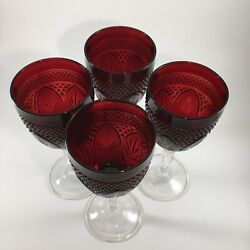 Vintage Cristal D'arques Durand Antique Ruby Red Wine/water Goblets Set Of Four