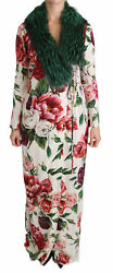 Dolce And Gabbana Dress Womenand039s White Floral Shift Fur Coat Silk It36/us0/xs