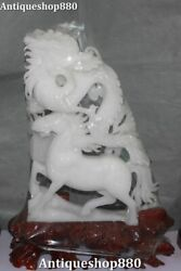 18 Unique Natural White Jade Hand Carving Fengshui Dragon Horse Animal Statue