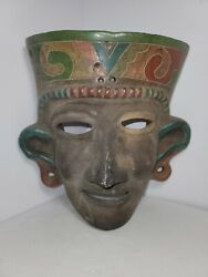Vintage Rare Hand Painted Aztec Mayan Clay Ceramic Mask Wall Décor