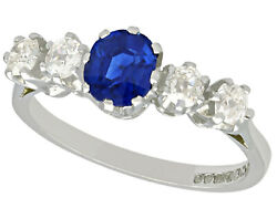 Antique And Contemporary 1.19ct Sapphire And Diamond 18ct White Gold Ring Size M