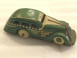 Marx Tricky Taxi Wind Up Tin Toy Green Tin Wind Up Vintage Toy 30's/40's Clean