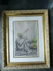 Large Authentic Louis Icart Etching Signed With Windmill Stamp To Paper