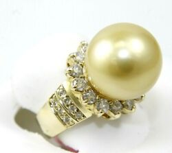 Natural South Sea Pearl And Diamond Solitaire Ring 14k Yellow Gold 14mm 1.16ct