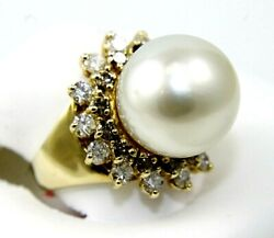 South Sea Pearl And Diamond Halo Solitaire Ring 14k Yellow Gold 13mm 1.50ct