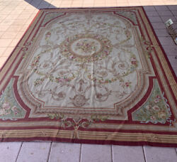 French Aubusson Needlepoint Maroon Green Beige Floral Rug 8x12