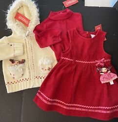 """Nwt Girls 12-18 Gymboree """"peruvian Doll"""" Cotton 3-piece Dress Sweater Top Outfit"""