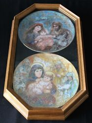 Knowles Edna Hibel Plates In A Double Oak Bards Plate Frame