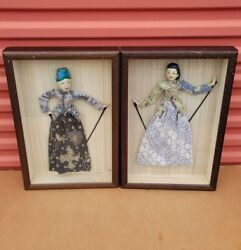 Lot Of 2 Antique Vintage Chinese Asian Opera Doll Puppet Framed And Mounted