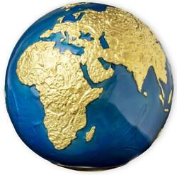 Barbados 2021 5 Blue Marble Gold Plating Planet Earth Spherical 3oz Silver Coin