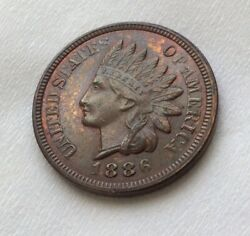 1886 Indian Head Cent - Much Rarer Type 2 Variety B0330321e