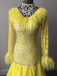 Ballroom Dance Competition Dress Standard Yellow Small - Perfect For Nationals