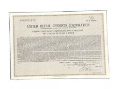 1929 United Retail Chemists Corporation Stock Certificate Maryland