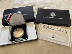 1991 S Proof Uso Silver Dollar Us Mint Commemorative 50th Coin With Box And Coa