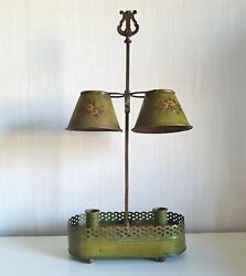 Antique 18th Bouillotte Lamp / Double Metal Shades