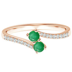 Two Stone 0.50 Cts Round Emerald Gemstone Stackable 9k Rose Gold Bypass Ring