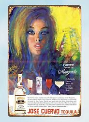 Vintage Auto Signs 1968 Jose Cuervo Tequila Alcoholic Drink Bar Tarven Tin Sign