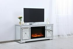 Mirrored Tv Stand Faux Logs Fireplace Insert Combo Cabinet Antique Silver 60