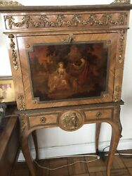 """Antique 19th. Century French Secretaire Desk. Louis 15th Fine Painting. 51"""" Tall"""