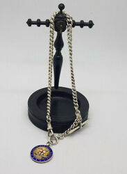 Antiqueandnbsp Solid Silver Albert Pocket Watch Chain With Fobandt-barandnbsp 58.9 G.