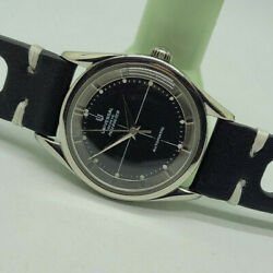 Rare Vintage Universal Polerouter Geneve Black Dial Cal215 Auto Manand039s Watch