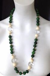 Vintage 1940's Gold Tone Beaded Green Bakelite Lucite Glass Beads Necklace