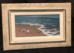 Texas Artist Guy Morrow Original Signed Painting And Frame Seascape Padre Island