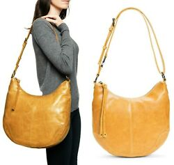 Frye Melissa Scooped Hobo Women#x27;s Leather Shoulder Bag Handbag in Sunflower $179.99