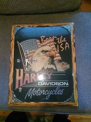 Harley Davidson Motorcycles Born In The Usa Lacquered Clock 16x20 Euc
