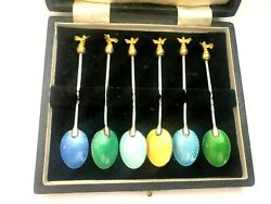 Rare Russian Imperial Silver 88 Kf/at Author Faberge Gilded And Enamel Spoon Set