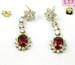 Natural Oval Red Ruby And Diamond Halo Drop Snap Earrings 14k Yellow Gold 6.07ct