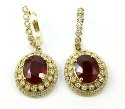 Natural Oval Red Ruby And Diamond Halo Drop Snap Earrings 14k Yellow Gold 11.25ct