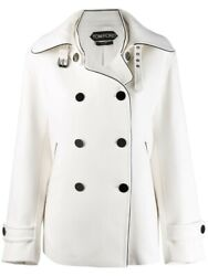 Tom Ford Womens Virgin Wool Double Breasted Peacoat Jacket White Size It 40 Us 4