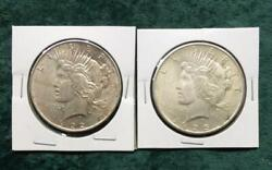 1922 And 1925 Peace Silver Dollars, 2 Silver Peace 1 Coins, Nice Luster