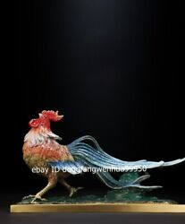 Copper Bronze Painted Feng Shui Auspicious Zodiac Animal Rooster Chicken Statue